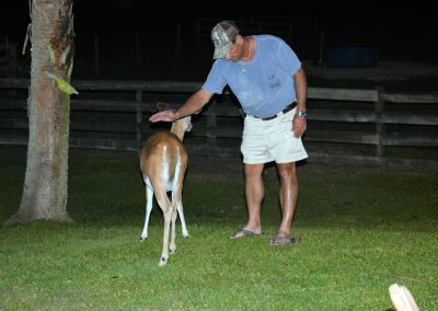 George petting a deer at Triple Tree Ranch